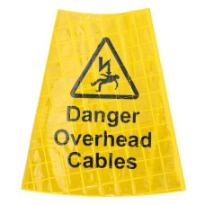 'Danger Overhead Cables' Traffic Cone Sleeve