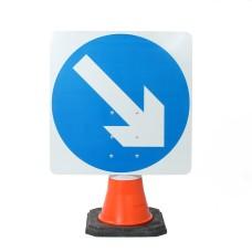 Keep Right Cone Sign  750mm (Cone Sold Separately)