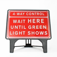 4-Way Control   Wait HERE Until Green Light Shows Sign - Q-Sign