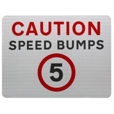 Caution Speed Bumps 5mph Advisory Sign - Wall Mount