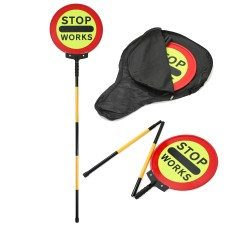 Stop Works Sign   Stop Works Lollipop Sign 450mm Collapsible