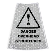'Danger Overhead Structures' Traffic Cone Sleeve Warning