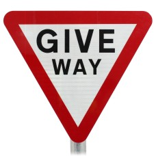 Give Way Sign Post Mounted  - Diagram 602 R2/RA2 (Face Only)