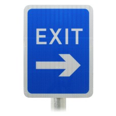 Blue Car Park Exit Sign (With Arrow) Post Mounted R2/RA2