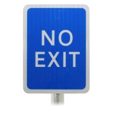 Blue Car Park 'No Exit' Sign Post Mounted R2/RA2