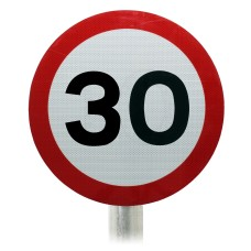 30mph Speed Limit Sign, Post Mounted Diagram 670 R2/RA2