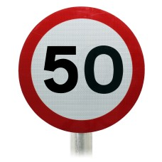 50mph Speed Limit Sign, Post Mounted Diagram 670 R2/RA2