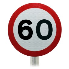 60mph Speed Limit Sign, Post Mounted Diagram 670 R2/RA2