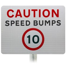 Caution Speed Bumps 10mph Advisory Sign - Post Mount