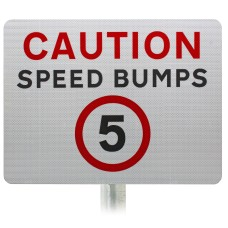 Caution Speed Bumps 5mph Advisory Sign - Post Mount