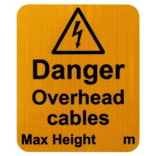 Danger Overhead Cables Max Height Sign R2/RA2 ( fixings not included)