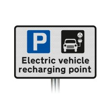 'Electric vehicle recharging point' Inc Symbols Sign Post Mounted Dia. 660.9 R2/RA2