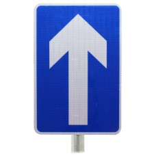 One Way Traffic Dia. 652 - Post Mount Sign - Composite Inc. Channel / RA2