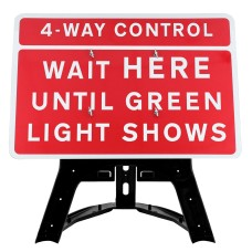 4-Way Control Wait Here Until Green Light Shows Sign QuickFit EnduraSign Dia. 7011.1 | 1050x750mm
