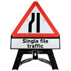 Road Narrows Left Inc. 'Single file traffic' Sup. Plate Sign QuickFit EnduraSign Dia. 517