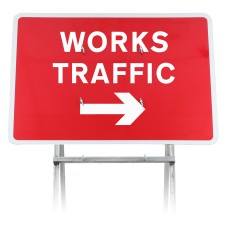 'Works Traffic' Arrow Right Dia 7303 | Quick Fit Sign (Face Only)
