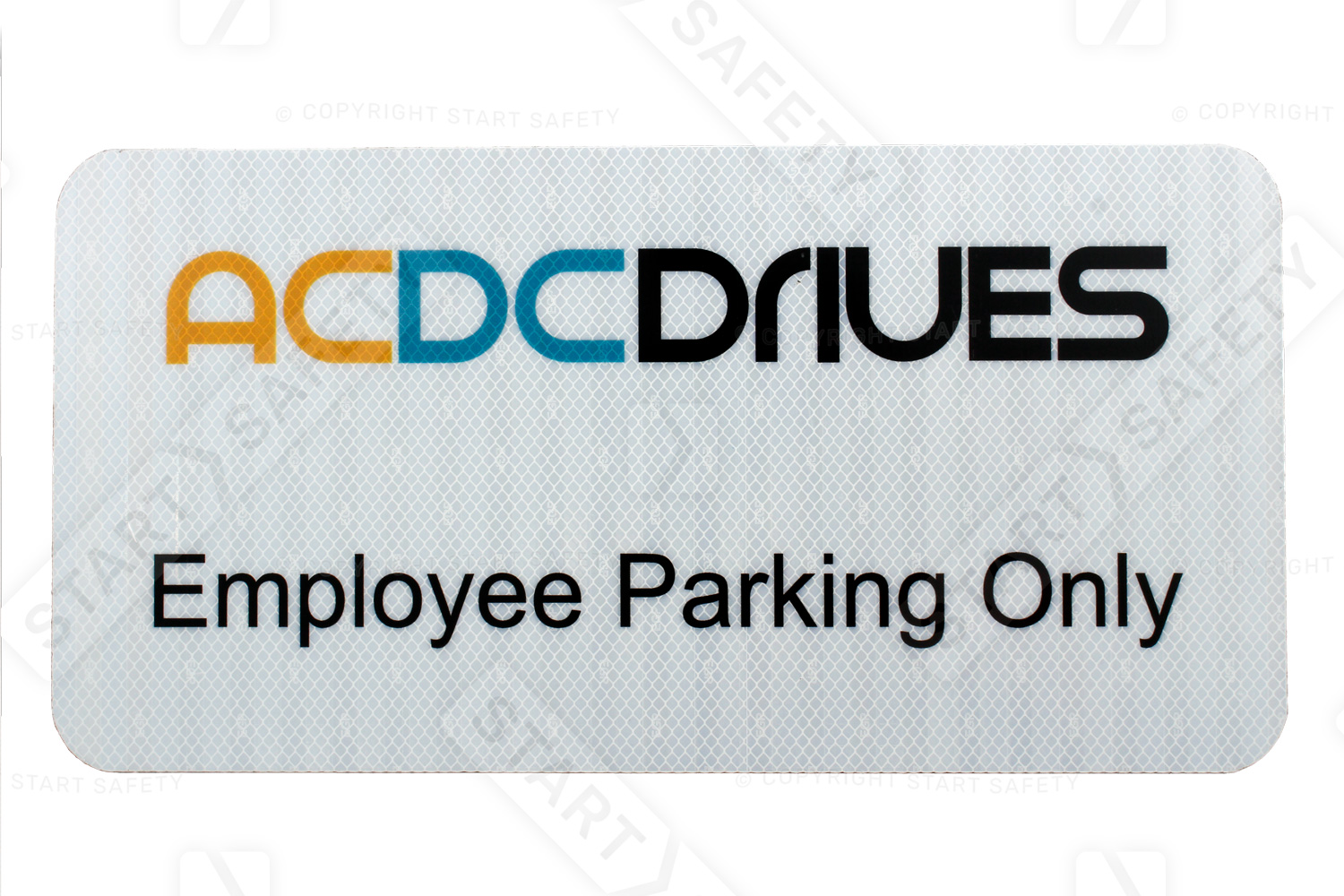 Example of custom printed reserved parking sign with a company logo