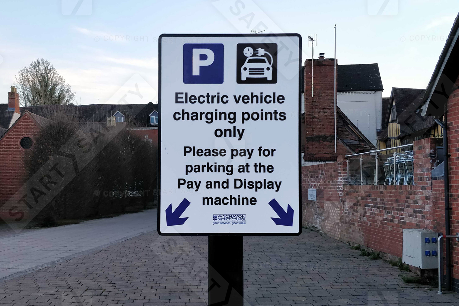 Reserved electric car rechargng point sign