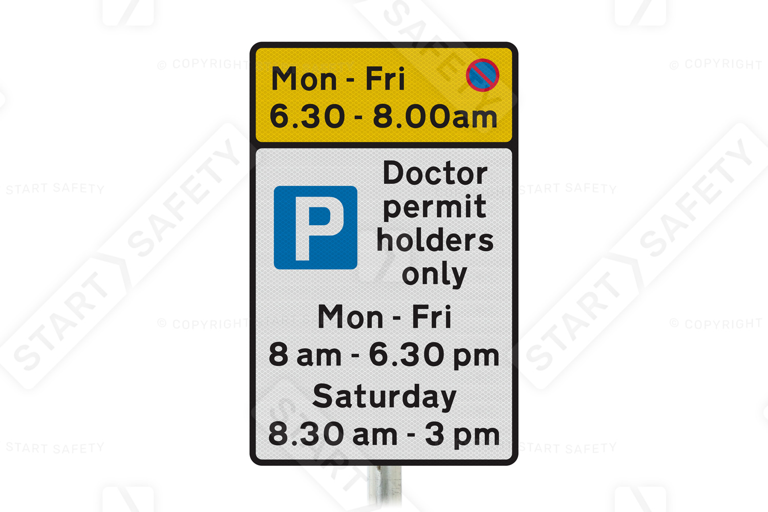 On-street parking sign with time restrictions