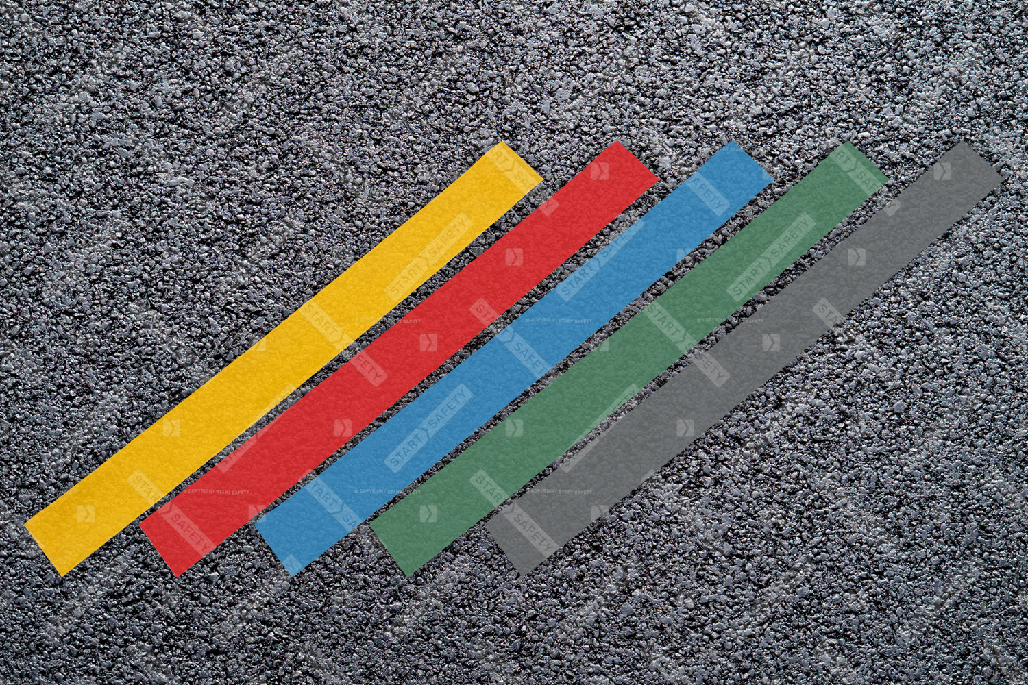 Thermoplastic lines in assorted colours