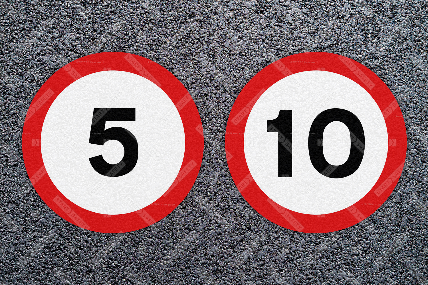 5 and 10 miles per hour thermoplastic speed roundels