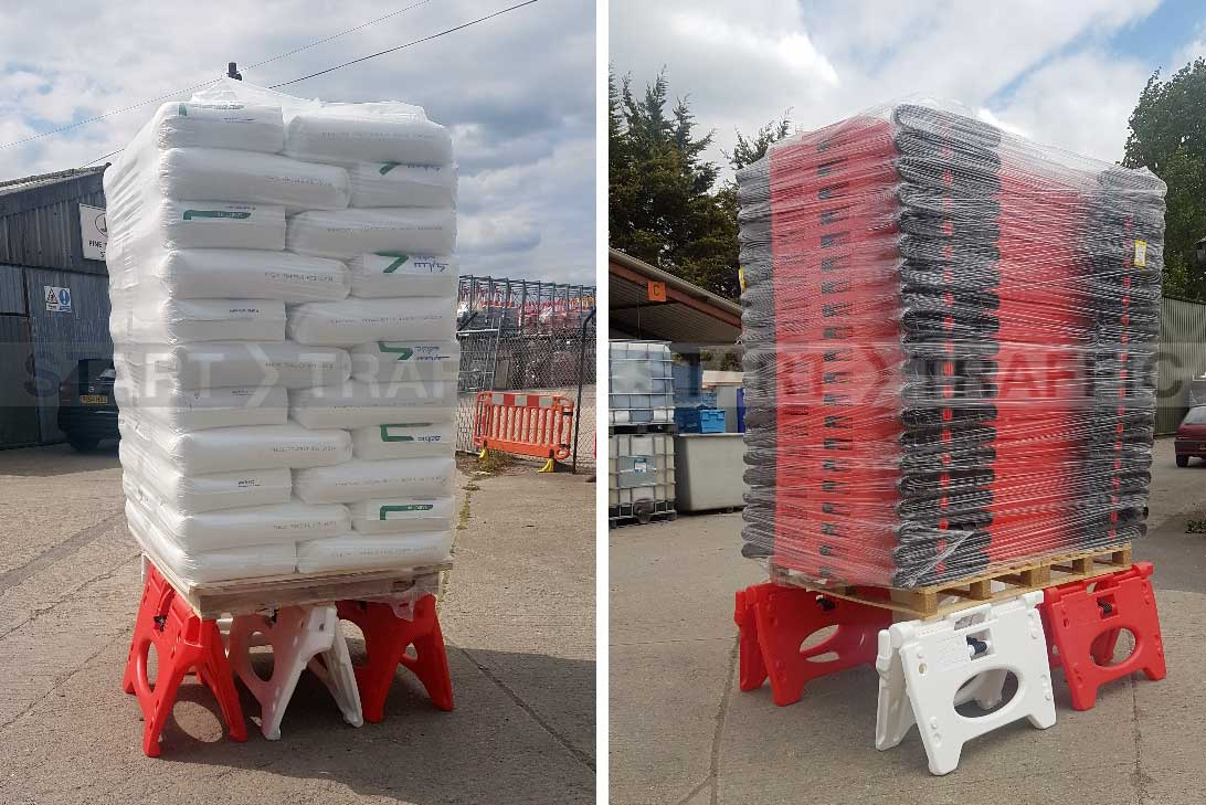 Alphablocs taking the weight of a full pallet of Titan Barriers