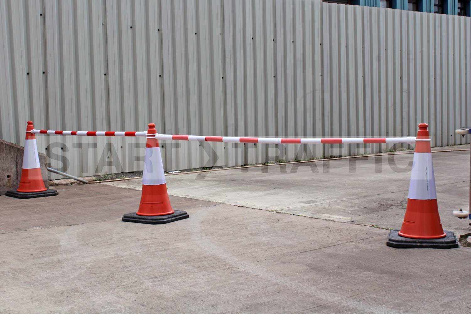 Expandable Cone Bar Barriers in use blocking exit