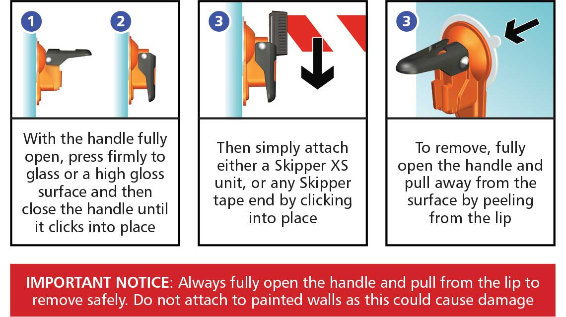 Instructions on how to use the Skipper suction pad holder / receiver