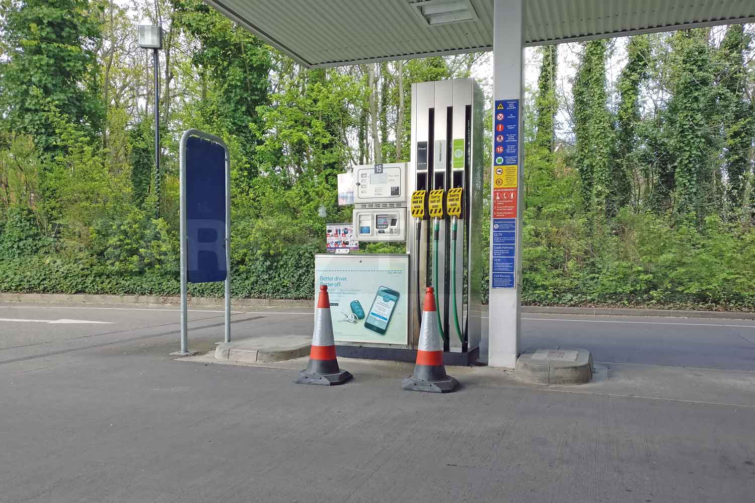 RoadHog Traffic cones in use at Petrol Station