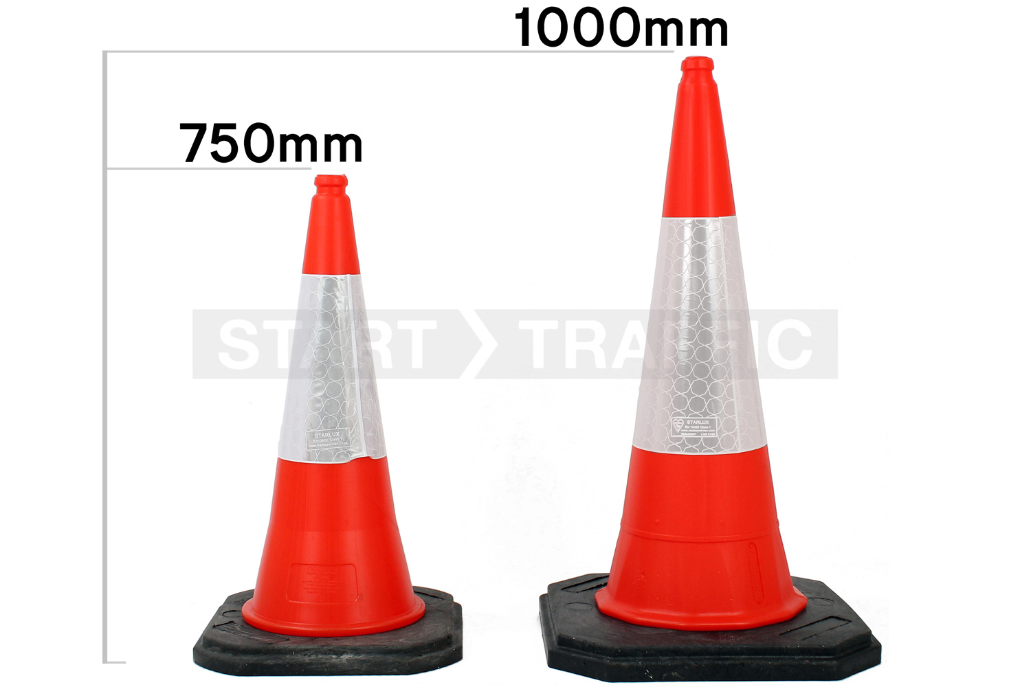 Suitable cone sizes shown