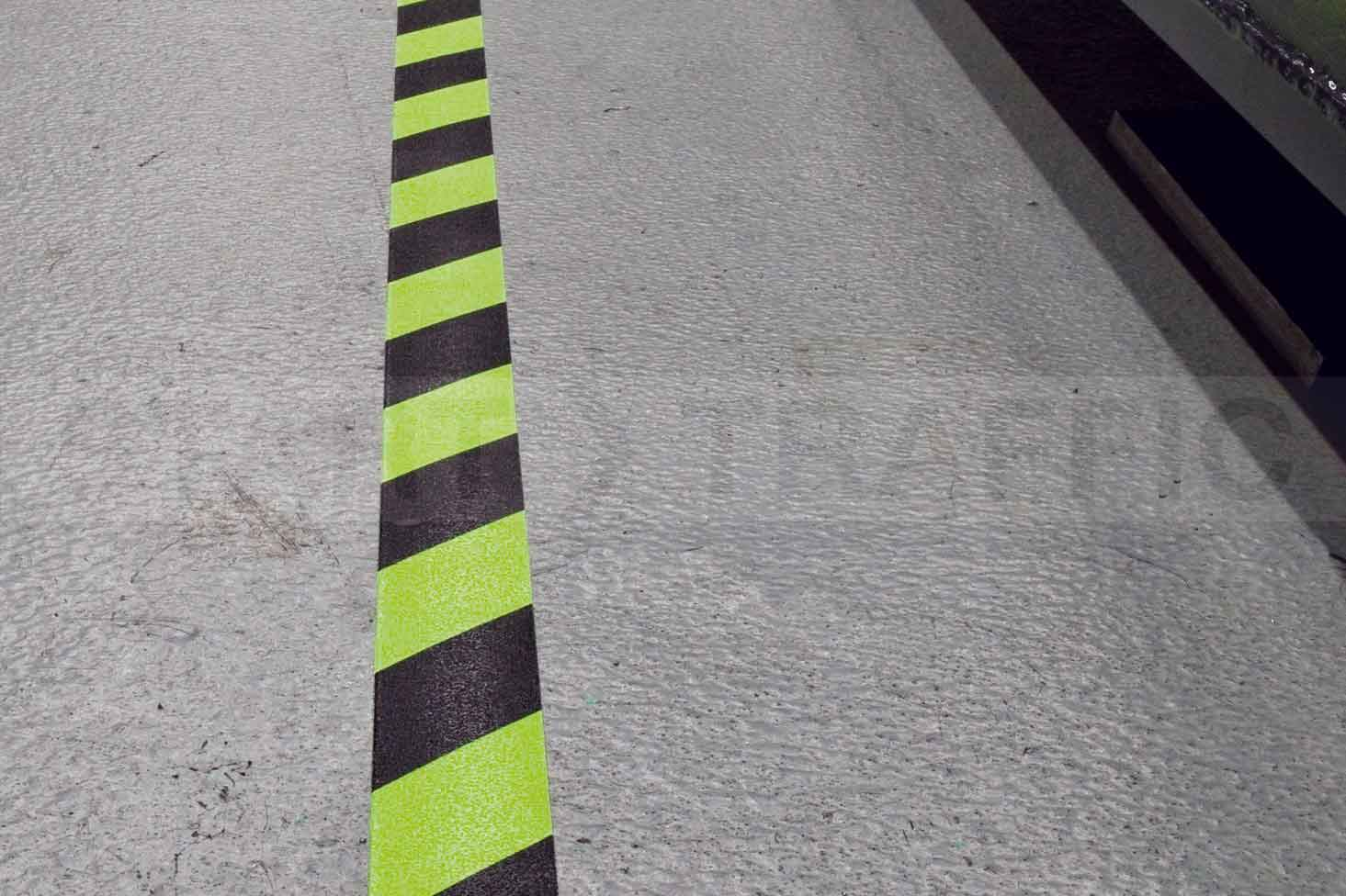 Anti-slip tape chevron in use