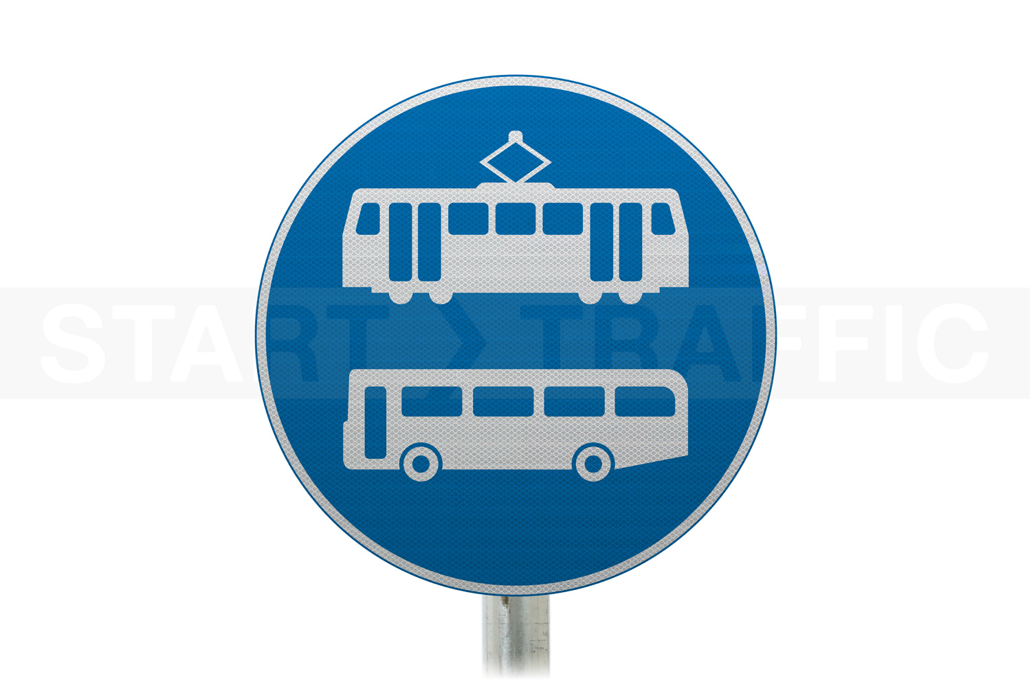 Tramcars and Buses Only Post Mounted Sign