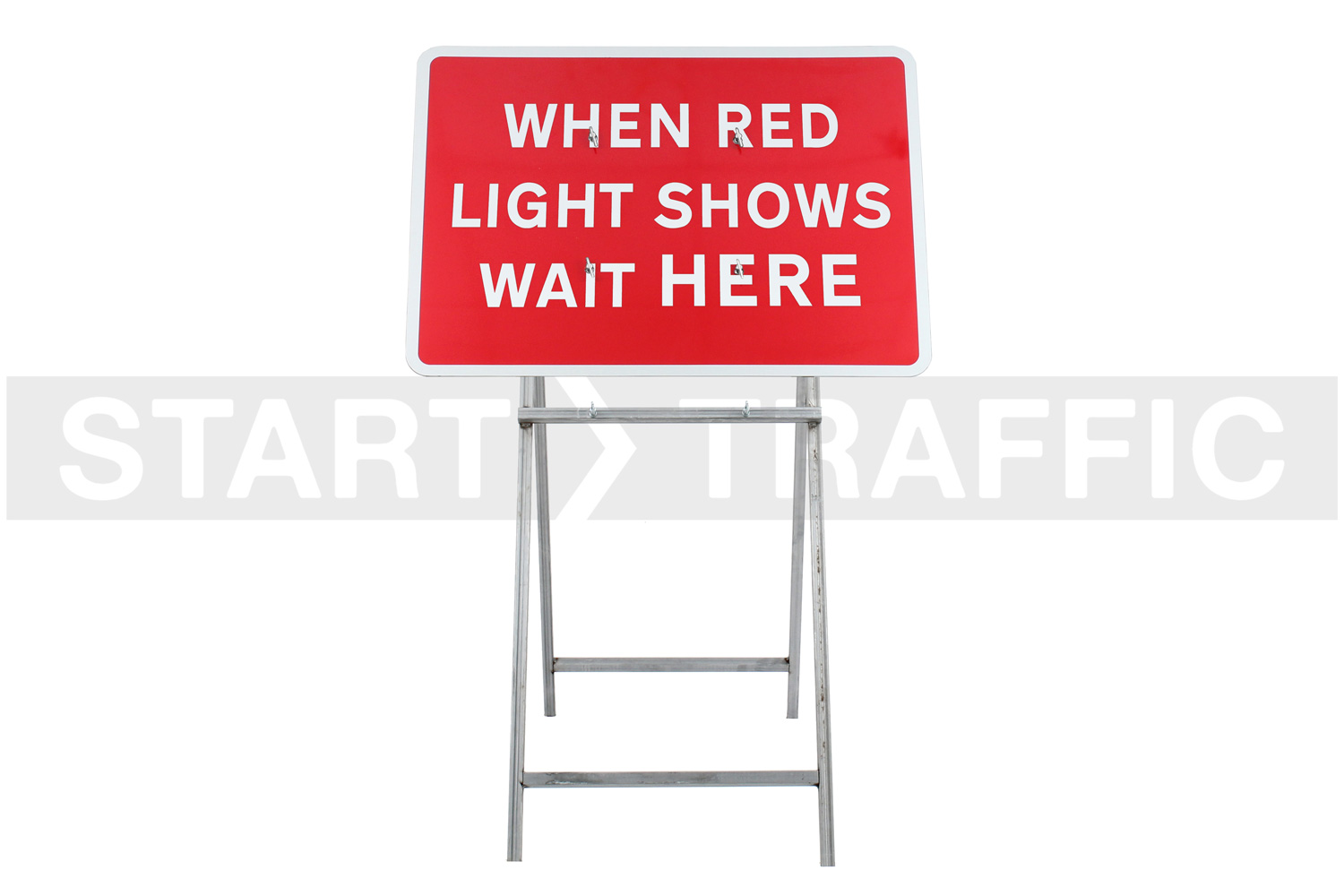 When Red Light Shows Wait Here Sign Mounted on Quick-Fit Mini Frame