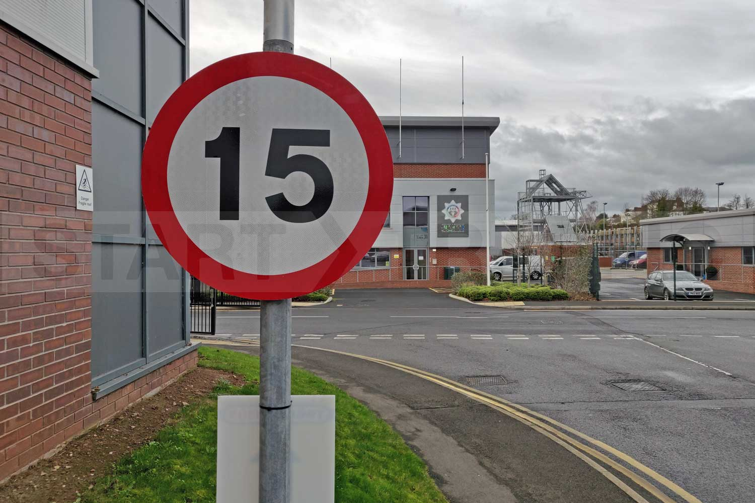 15mph sign installed on industrial estate